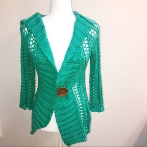 Green XS Free Small loose knit sweater